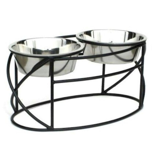 Oval Cross Double Raised Feeder Small Black