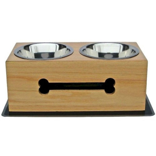 Wooden Bone Elevated Dog Bowls Small