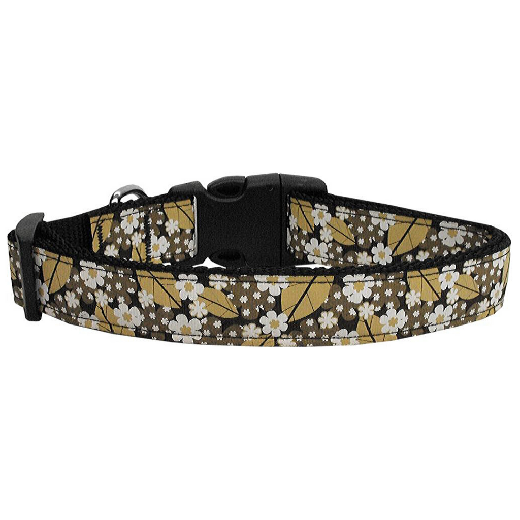 Autumn Leaves Nylon Ribbon Dog Collars Large