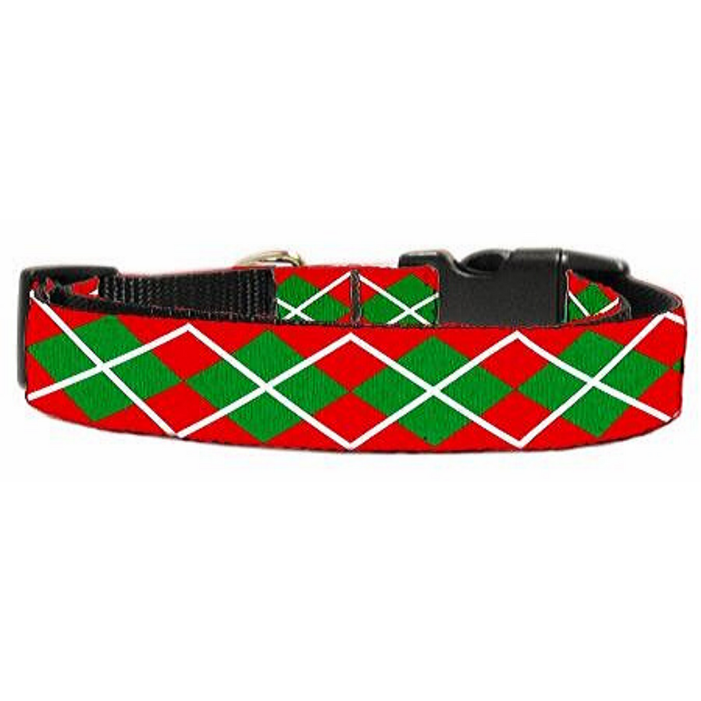 Christmas Argyle Nylon Ribbon Collar Large