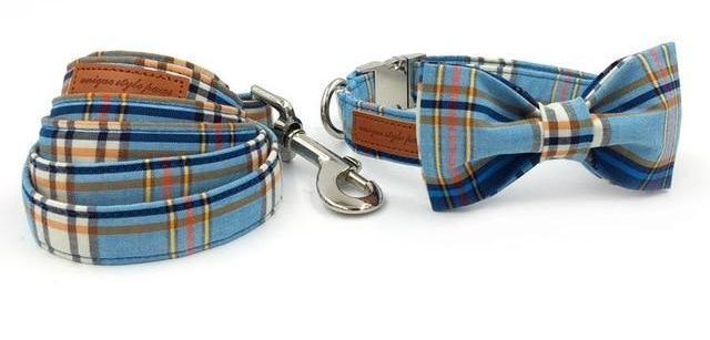 Blue Plaid Bow Tie Dog Collar