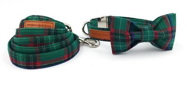 Dark Green Plaid Dog Collar With Bow Tie