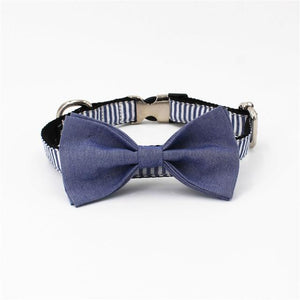 DOG IZ DOG bowtie collar with bow / S(20-30cm Length) Stripe Bowtie, Collar and Leash