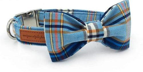 DOG IZ DOG bowtie collar with bowtie / XS Blue plaid  dog  collar with bow
