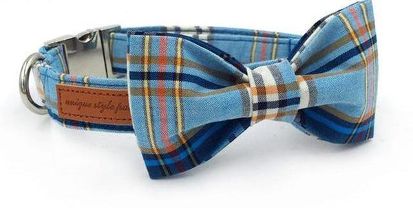 Blue Plaid Bow Tie Dog Collar collar bow and leash XS