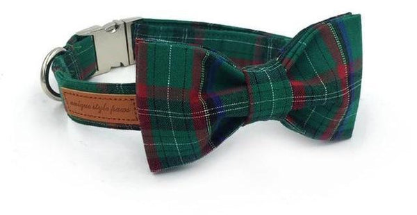 Dark Green Plaid Dog Collar With Bow Tie collar and bowtie XS