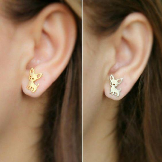 Dainty Chihuahua Earring Studs Gold-color