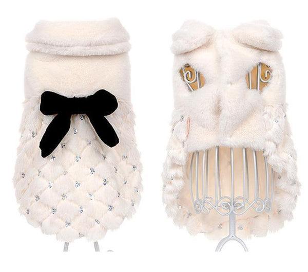 Ivory Color Luxury Coat for Small Dogs White XS