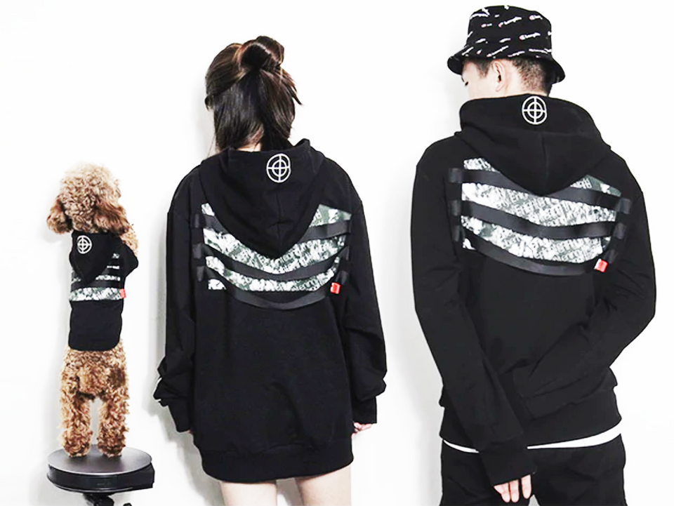 Black, Matching Dog and Dog Owner Hoodie Set
