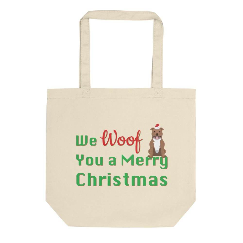 We Woof You A Merry Christmas Pitbull Tote Bag