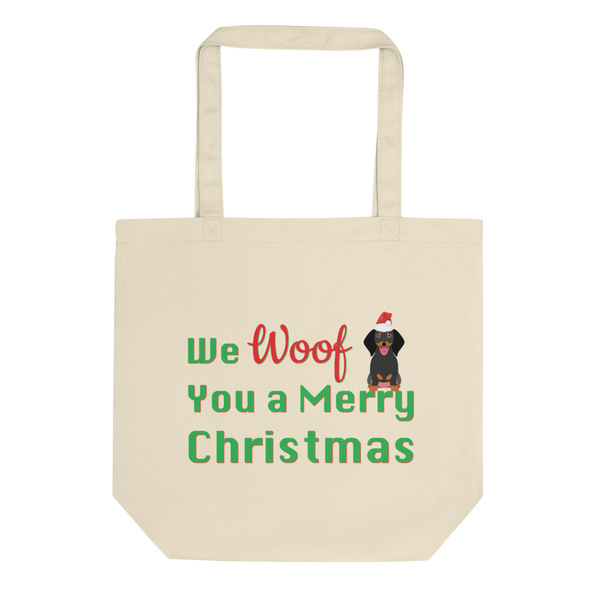 We Woof You A Merry Christmas Dachshund Tote Bag