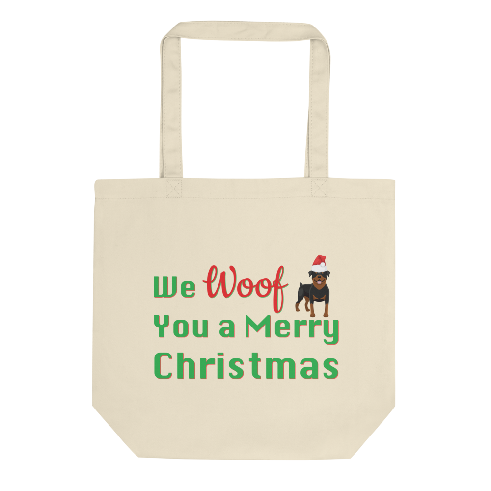We Woof You A Merry Christmas Rottweiler Tote Bag