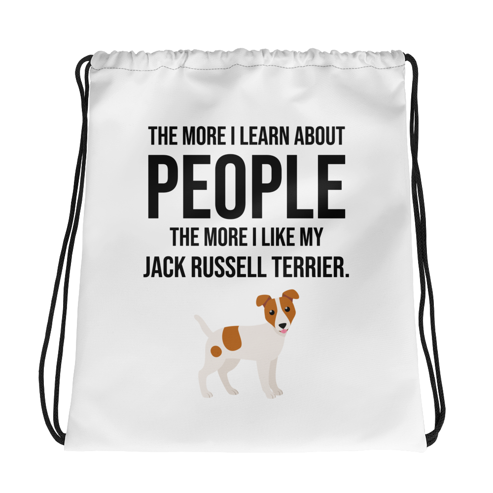 The More I Like My Jack Russel Terrier Drawstring bag