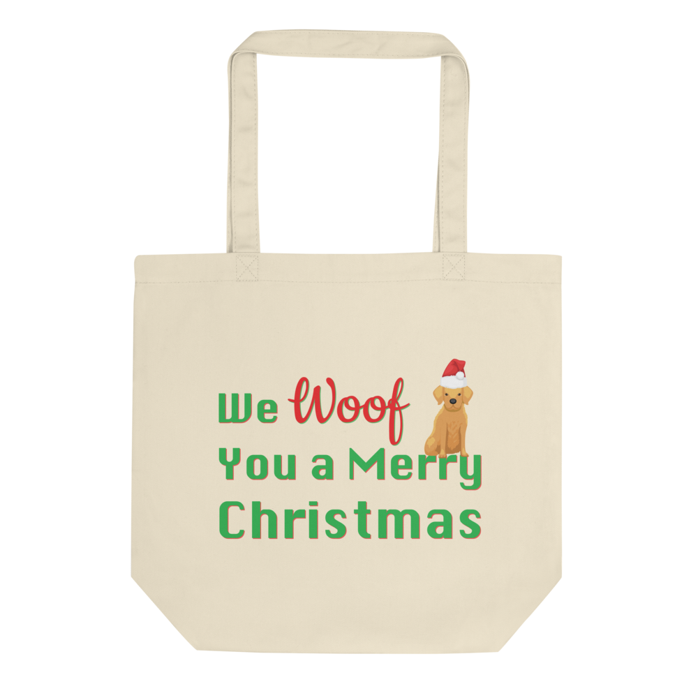 We Woof You A Merry Christmas Golden Retriever Tote Bag