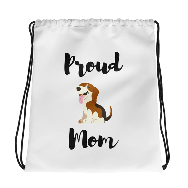 Proud Beagle Mom Drawstring Bag
