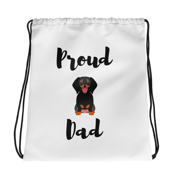 Proud Dachshund Dad Drawstring Bag