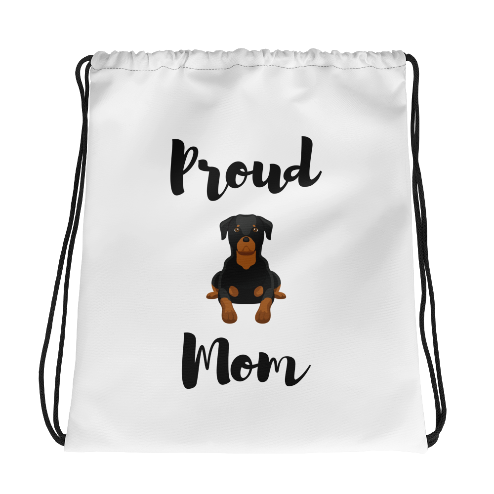 Proud Rottweiler Mom Drawstring Bag