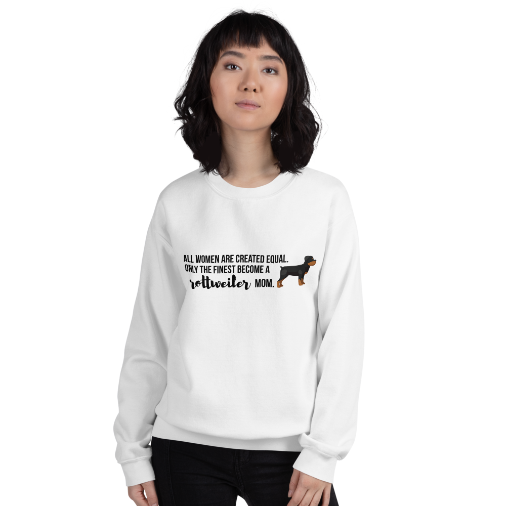 All Women Created Equal Rottweiler Sweatshirt White S
