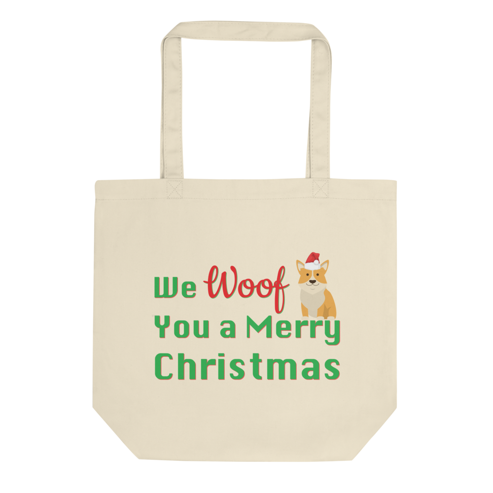 We Woof You A Merry Christmas Corgi Tote Bag