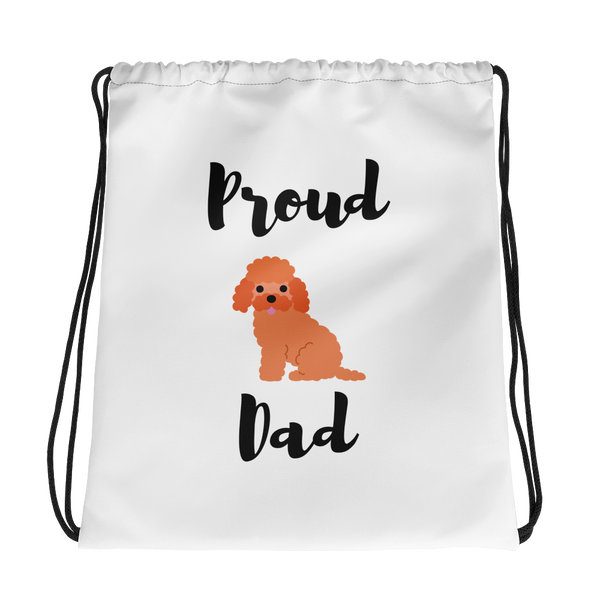 Proud Poodle Dad Drawstring Bag