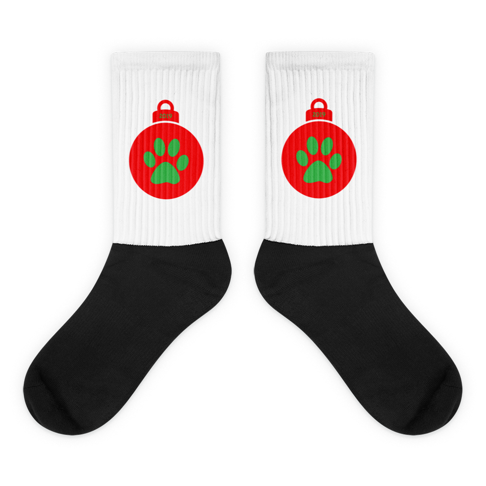 Red Paw Print Socks