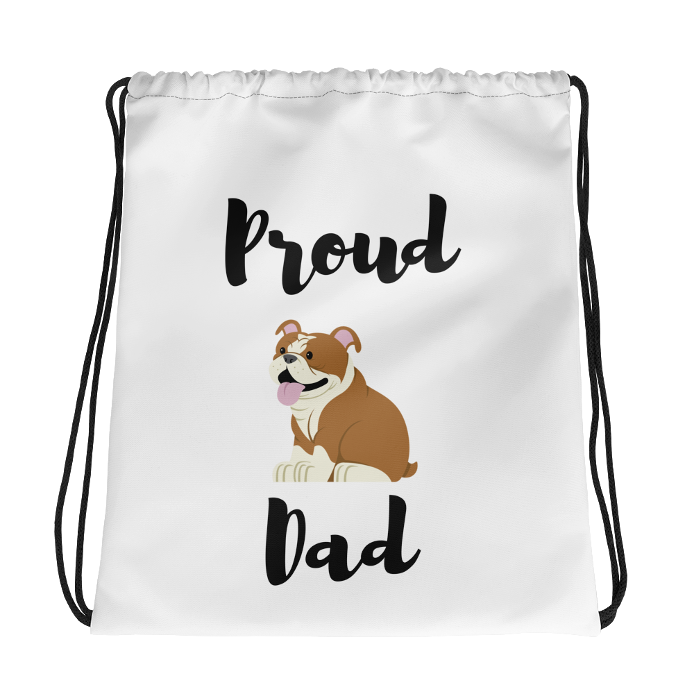 Proud Bulldog Dad Drawstring Bag