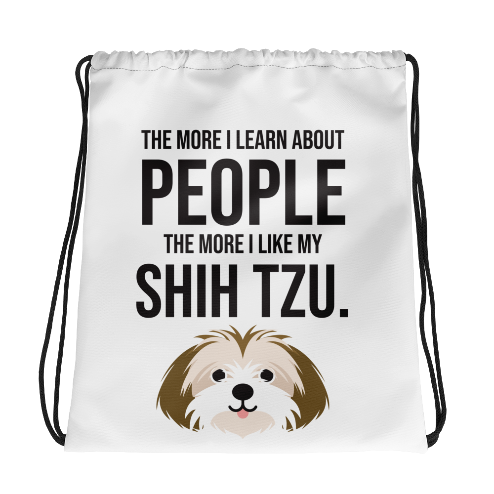 The More I Like My Shih Tzu Drawstring bag
