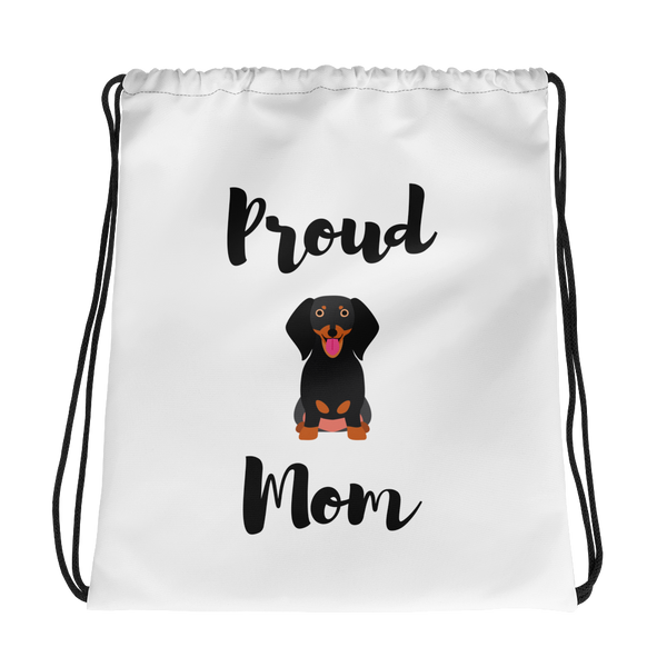 Proud Dachshund Mom Drawstring Bag
