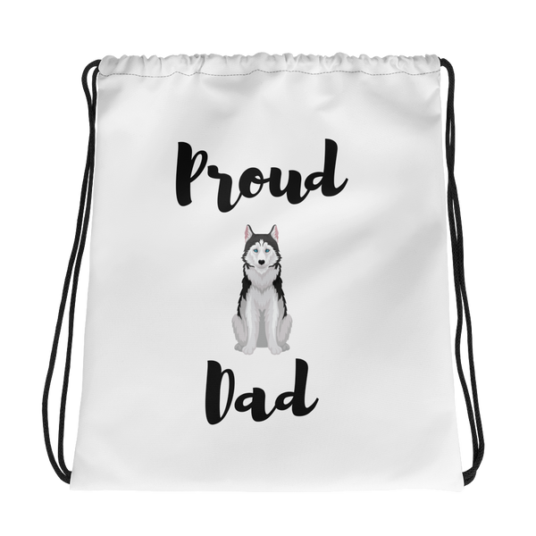 Proud Husky Dad Drawstring Bag