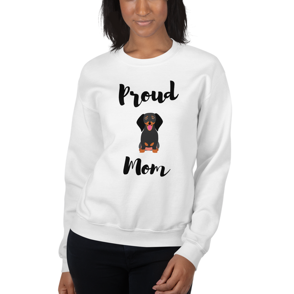 Proud Dachshund Mom Sweatshirt White S