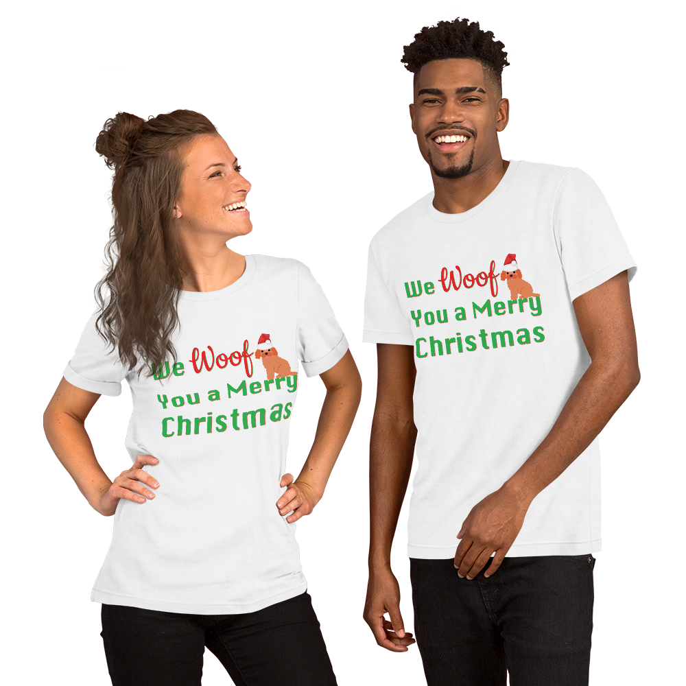 We Woof You A Merry Christmas Poodle T-Shirt