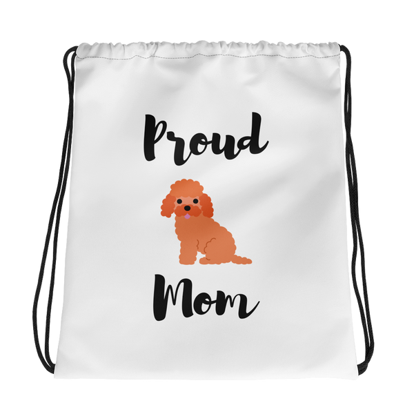 Proud Poodle Mom Drawstring Bag