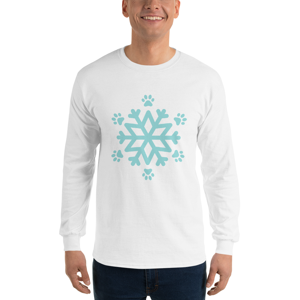 Blue Pawflake Unisex Long Sleeve Shirt White S