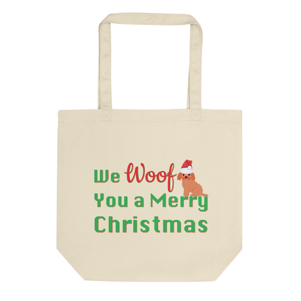 We Woof You A Merry Christmas Poodle Tote Bag