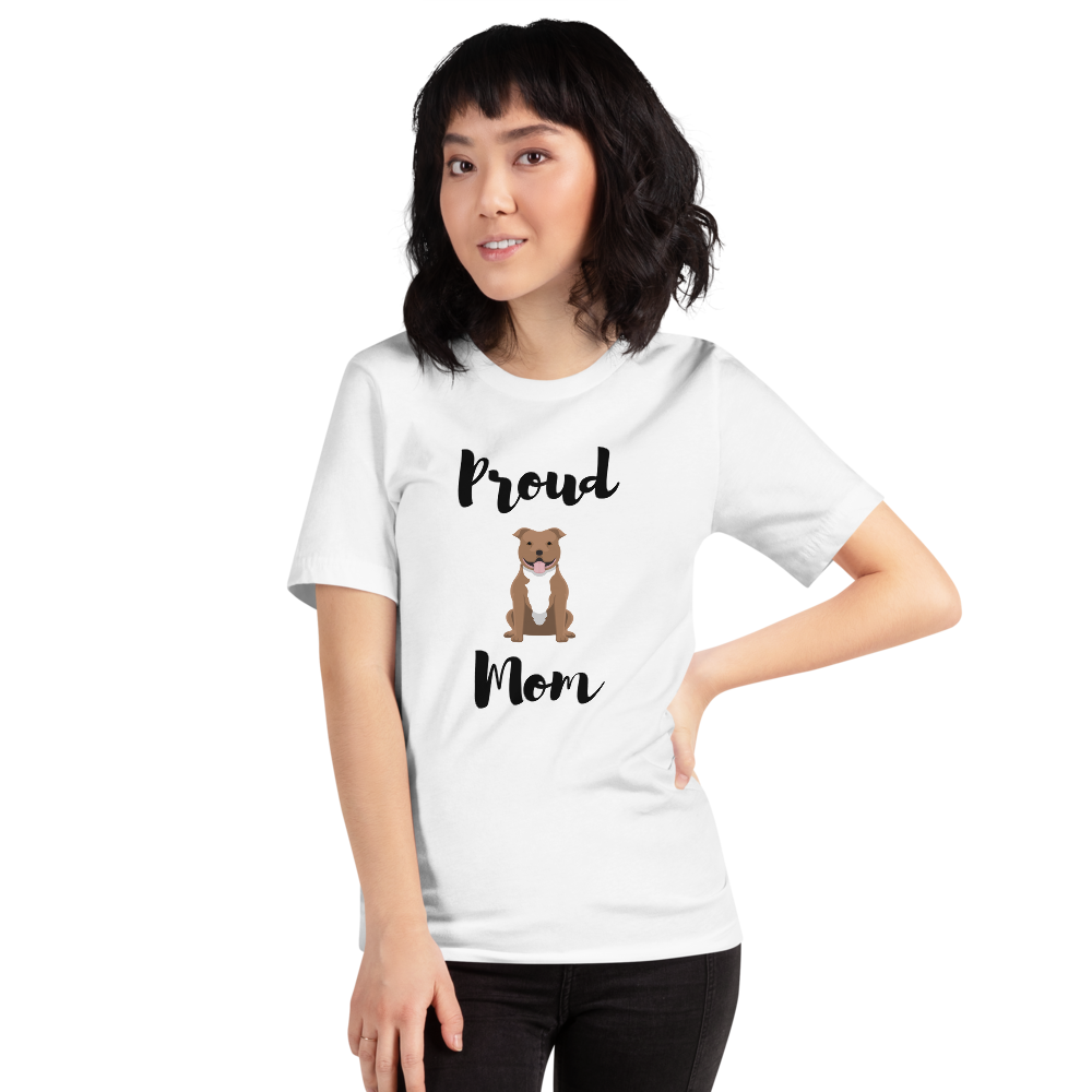 Proud Pitbull Mom T-Shirt White XS