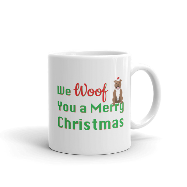 We Woof You A Merry Christmas Pitbull Mug