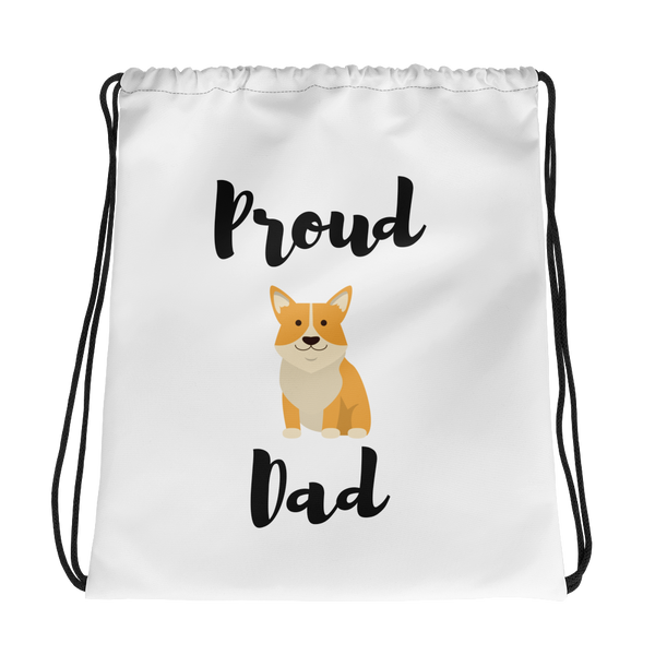 Proud Corgi Dad Drawstring Bag