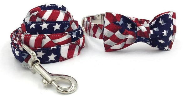 The Stars and Stripes Dog Collar with Bow Tie + Leash collar bow and leash XS