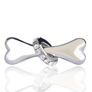 Bone Shape Brooch With a Cubic Zirconia Hoop