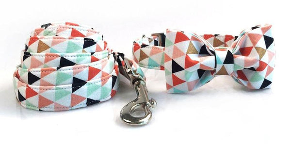 Colorful Banner Dog Collar With Bow Tie collar bow and leash XS