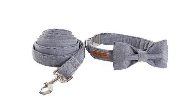 Grey Classic Dog Collar With Bow Tie and Matching Leash