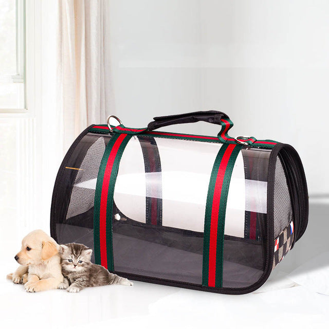 Waterproof, Transparent Pet Travel Bag Green and Red 43X25cm