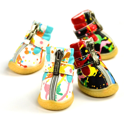 Anti-Slip Waterproof Colorful Leather Shoes For Dogs