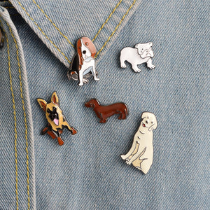 Enamel Dog Lapel Pins - Bulldog, Golden Retriever, German Shepherd, Dachshund, Hound Dog