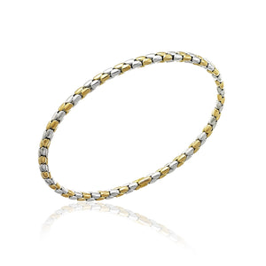 18K Stretch Spring White and Yellow Gold Bracelet