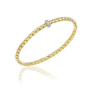 18K Stretch Spring Yellow Gold Bracelet with Diamonds