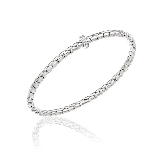 18K Stretch Spring White Gold Bracelet with Diamonds