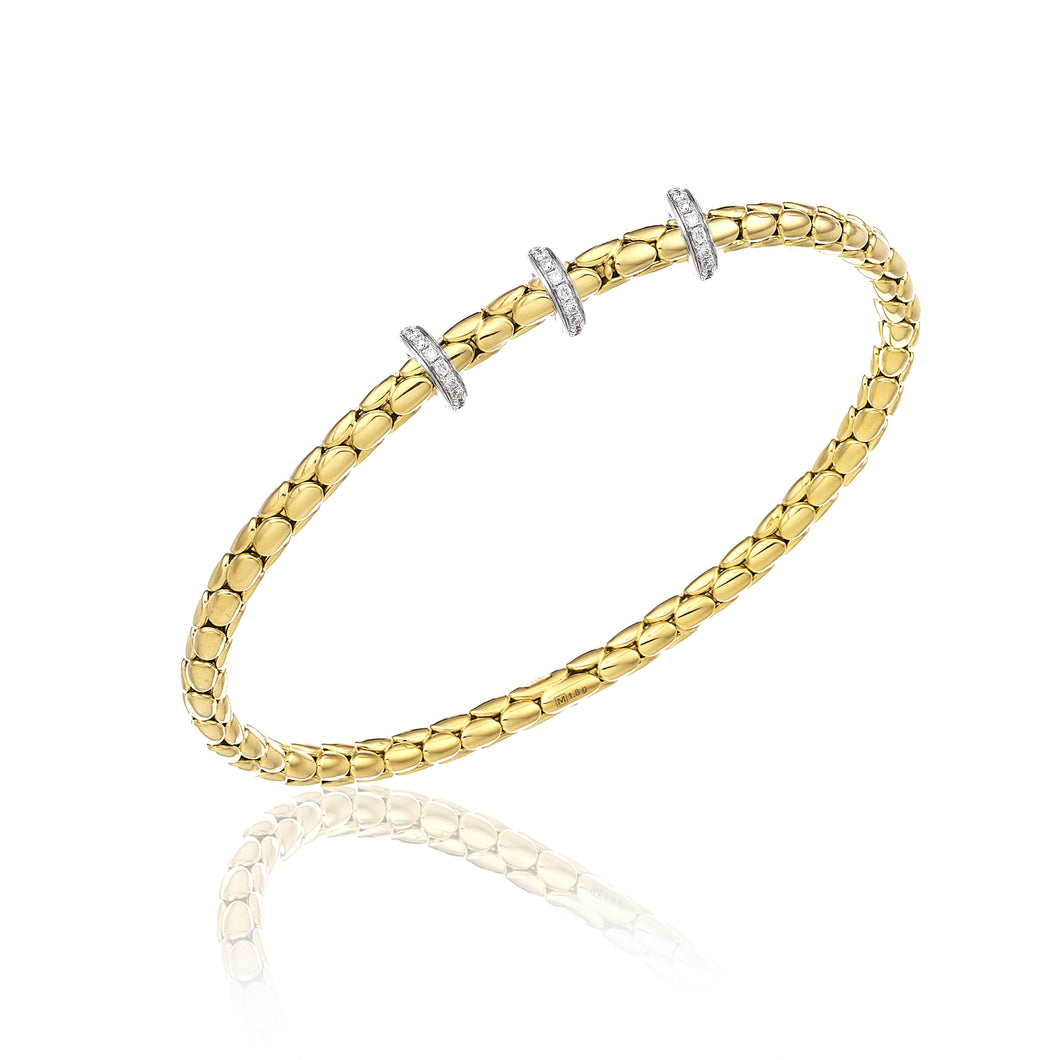 18K Stretch Spring Yellow Gold Bracelet with Three Diamond Stations