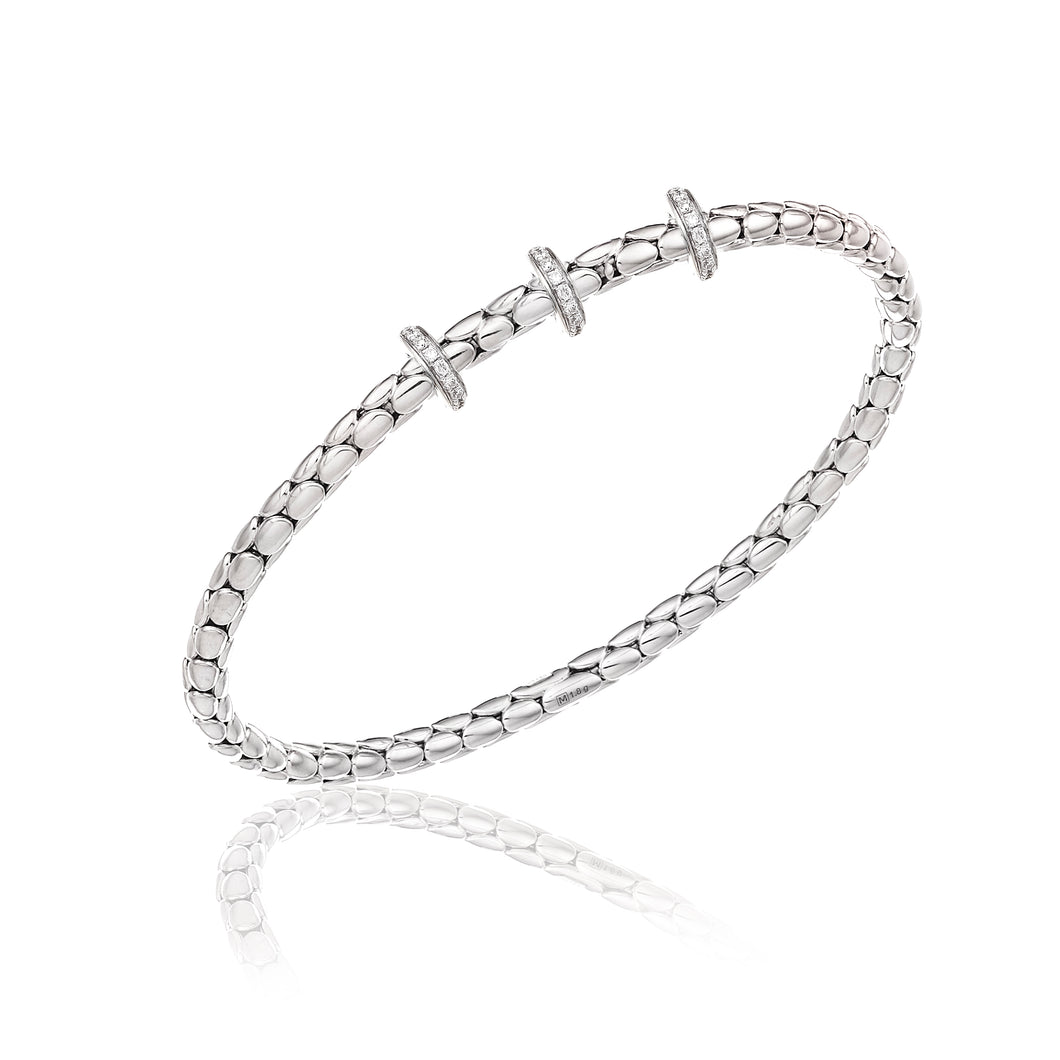 18K Stretch Spring White Gold Bracelet with Three Diamond Stations