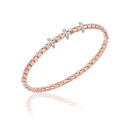 18K Stretch Spring Rose Gold Bracelet with Three Diamond Stations